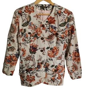VINTAGE Canadian Classic Fall Print Neutrals Floral Simple Breasted Blazer Small